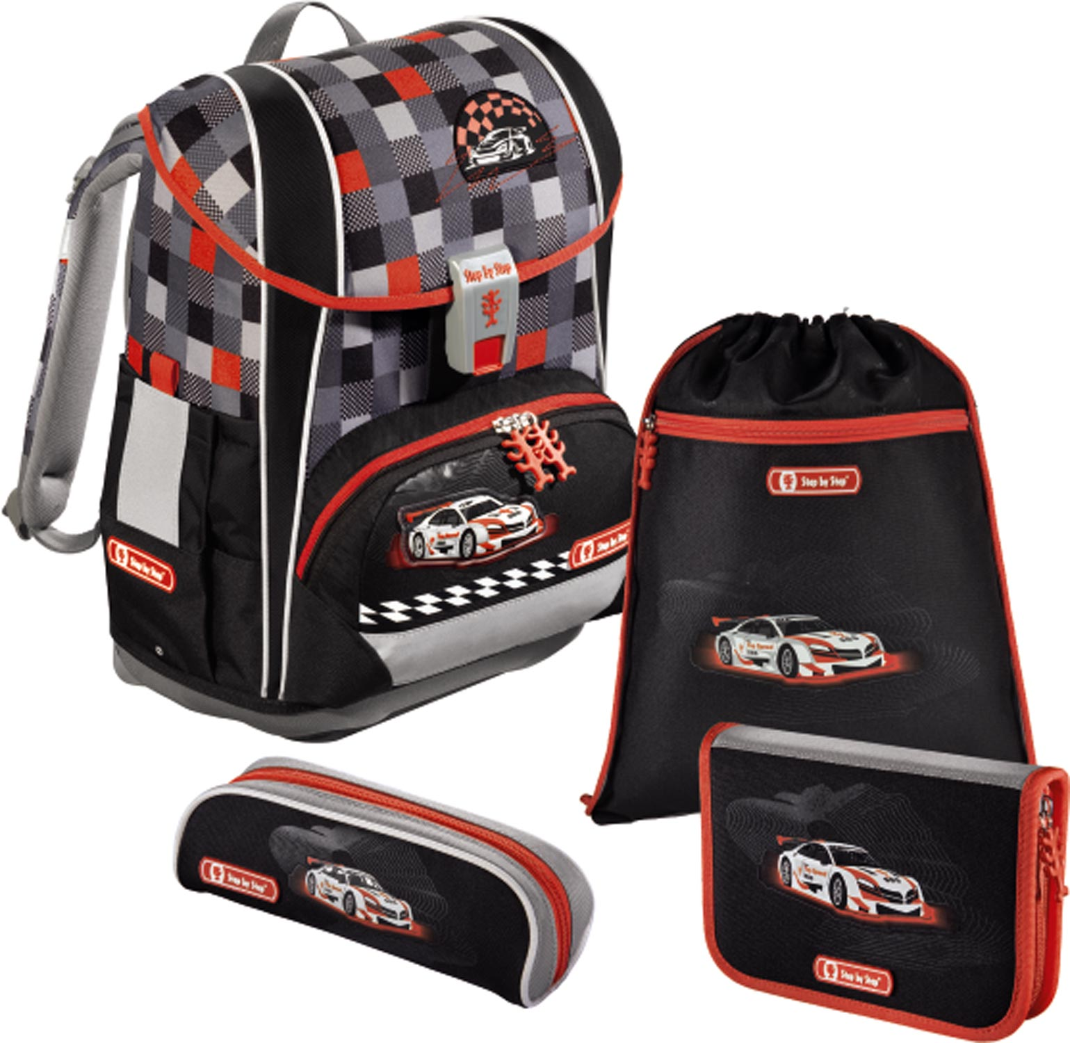 Školní aktovka Light 2 Racer auto 4 dílný set Hama Step by Step 9a9eb37d1c